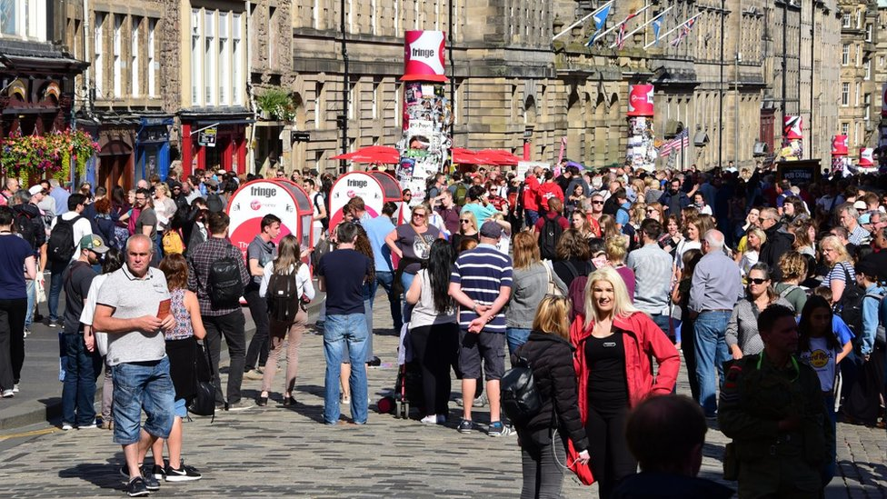 People on Royal Mile in Edinburgh during Edinburgh Fringe Festival