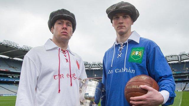 Tyrone's Sean Cavanagh and Cavan's Gearoid McKiernan in 1916 kits