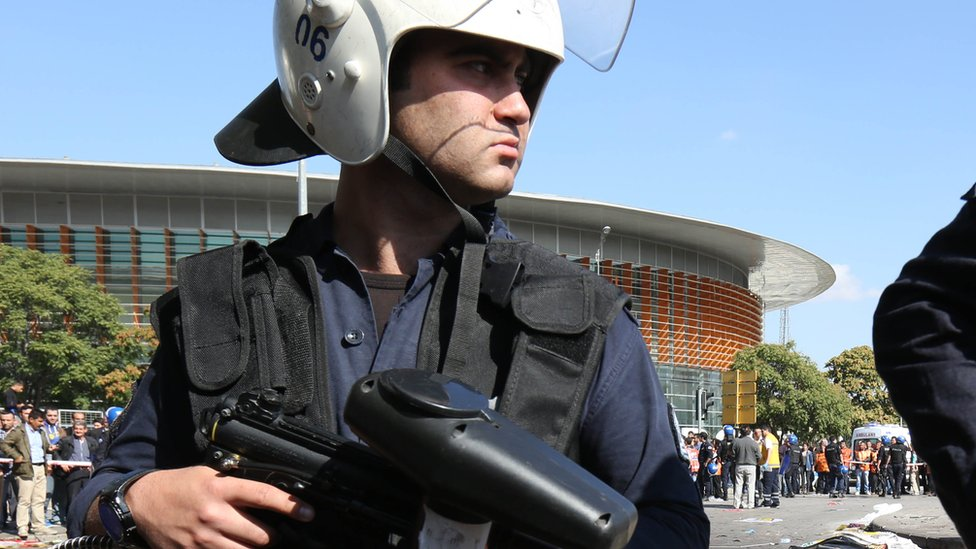 A policeman outside a stadium in Ankara, Turkey, Saturday 10 October 2015