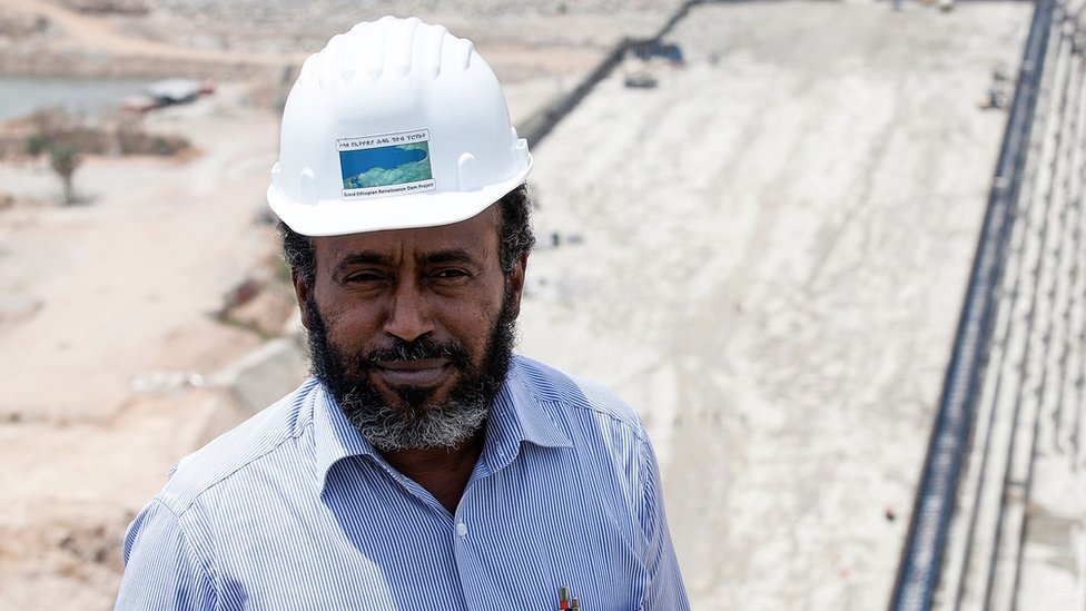 In this file photo taken on March 31, 2015 Chief Engineer Simegnew Bekele poses during a tour of the Grand Renaissance Dam under construction near the Sudanese-Ethiopian border.