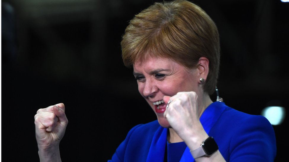 Nicola Sturgeon celebrates the SNP's win in Dunbartonshire East