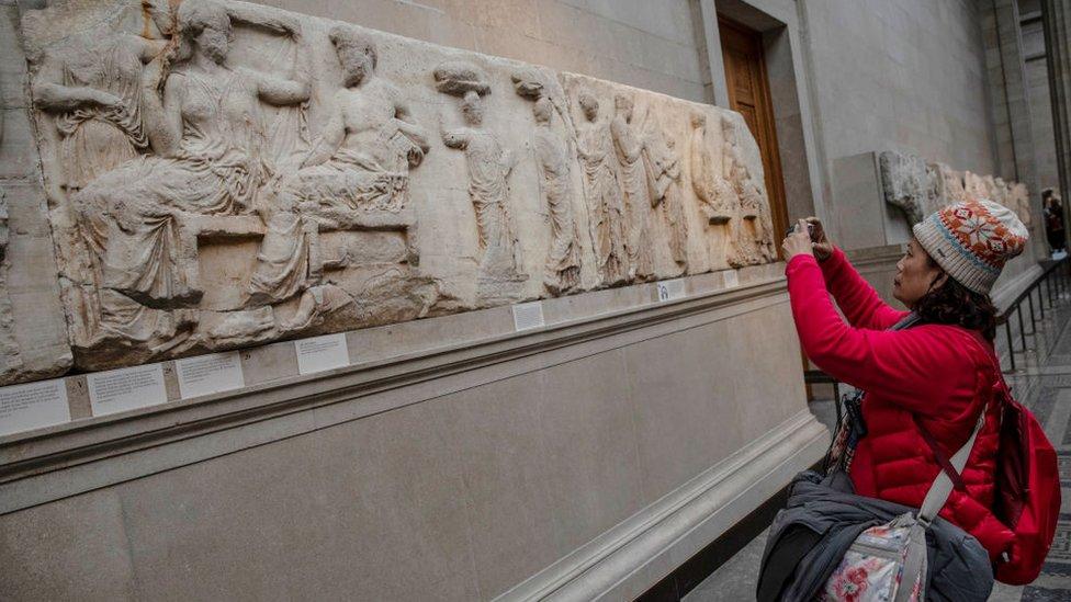 Mármoles del Partenón en el Museo Británico.