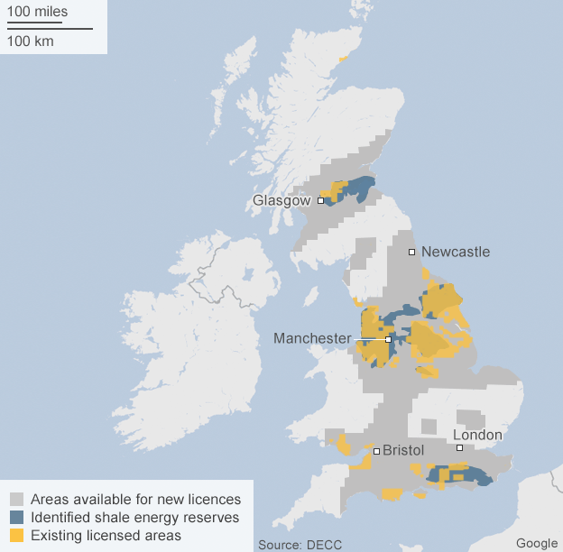 Map showing areas across the UK with existing energy licenses