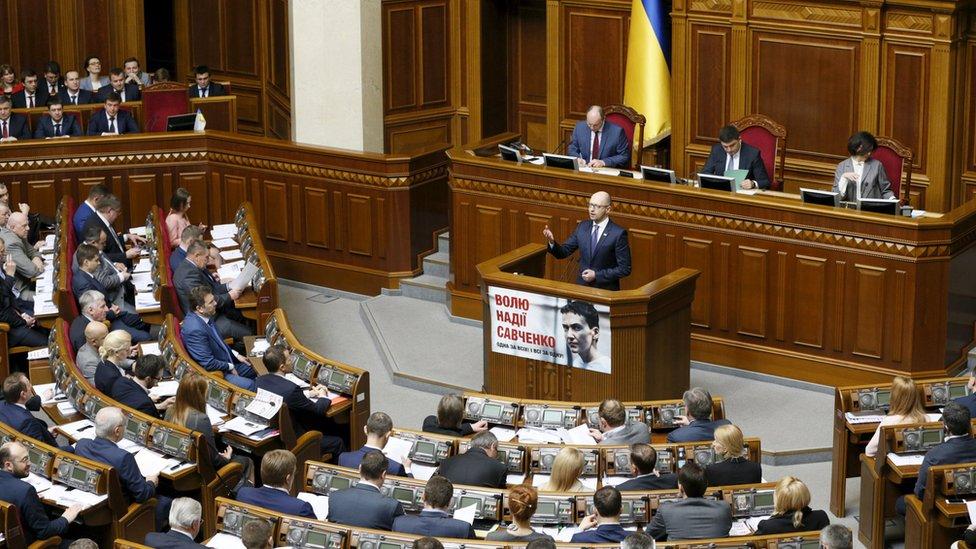Former Ukrainian Prime Minister Arseniy Yatsenyuk addresses parliament
