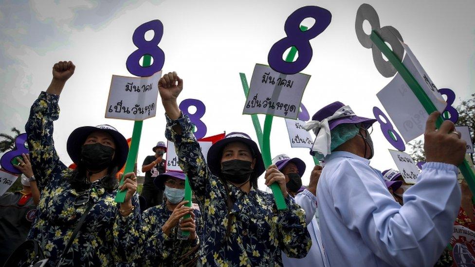 曼谷三八遊行要求改善勞工條件和產假待遇