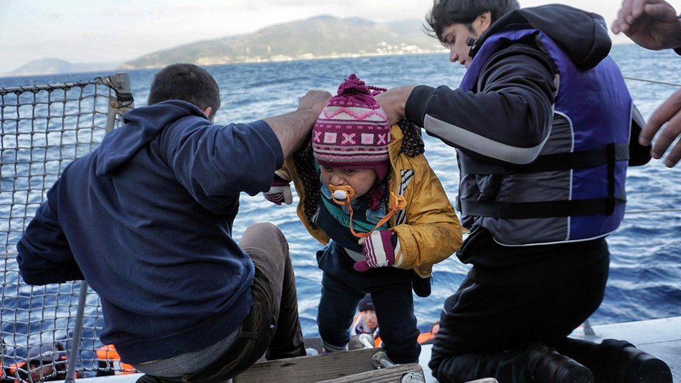 Child rescued off Lesbos, 20 Feb 16