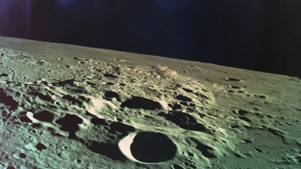 One of the last photos taken by Beresheet of the moon's cratered surface before it crashed
