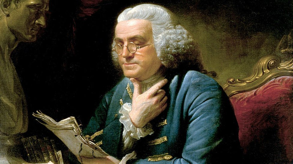 Benjamin Franklin pintado por David Martin.