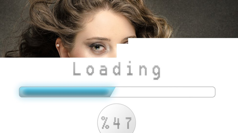 Page with half a woman's face downloading slowly