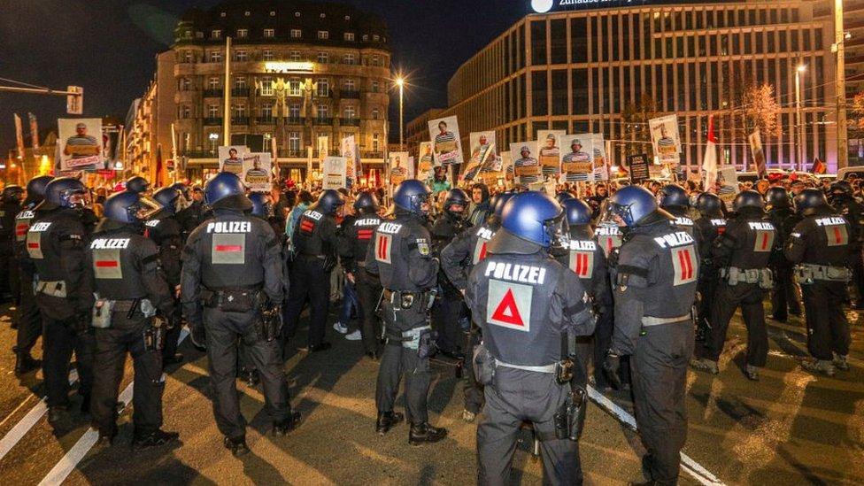Querdenken protest, Leipzig, 7 Nov 20