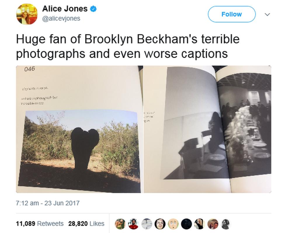 Alice Jones's tweet mocking some photos in the book