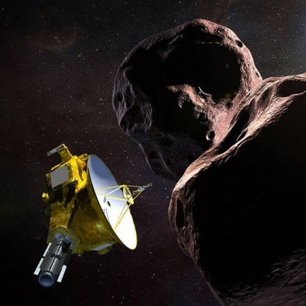 Ilustración que muestra a Ultima Thule y la nave New Horizons