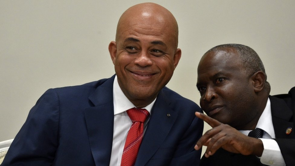 Haiti President Michel Martelly and Chamber of Deputies Speaker Cholzer Chancy