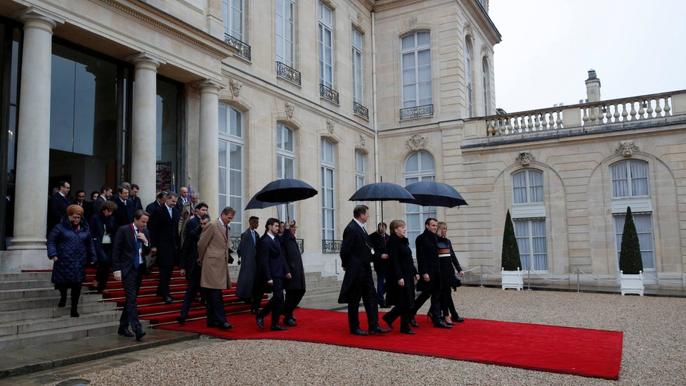 European leaders at the Elysee Palace