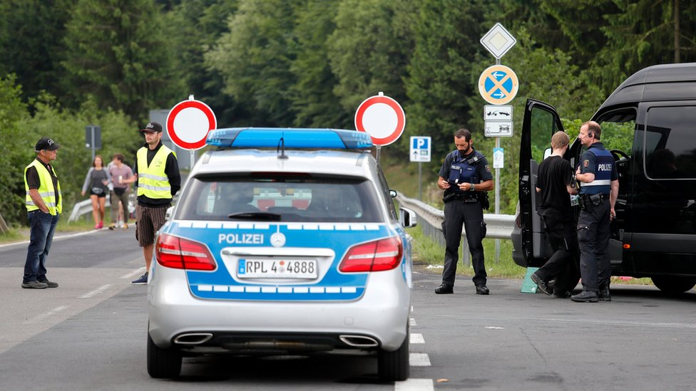 Police check a van near the Rock am Ring festival in Germany (3 June 2017)