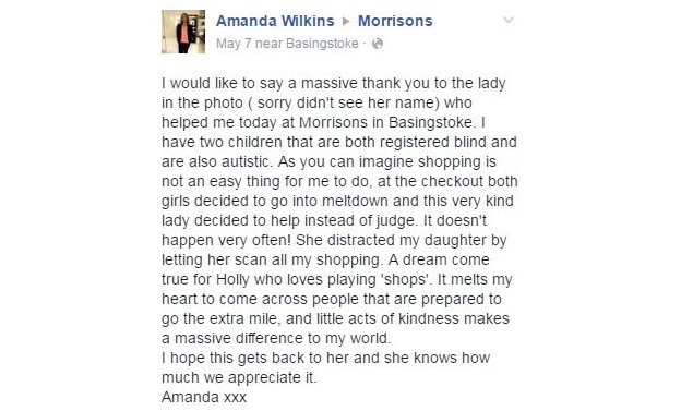Amanda Wilkins' post on Facebook to Morrisons asking to pass on a massive thank you to the cashier