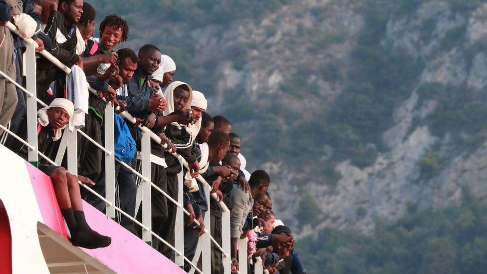 Migrants arriving in the Italian port of Salerno in 2017