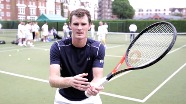 Jamie Murray demonstrates how to volley