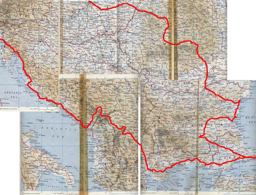 The map Ian Jack used to navigate round Eastern Europe, with route marked