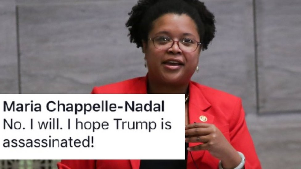 Image shows a standing Maria Chappelle-Nadal wearing a red jacket with the comment which reads 'No. I will. I hope Trump is assassinated!'