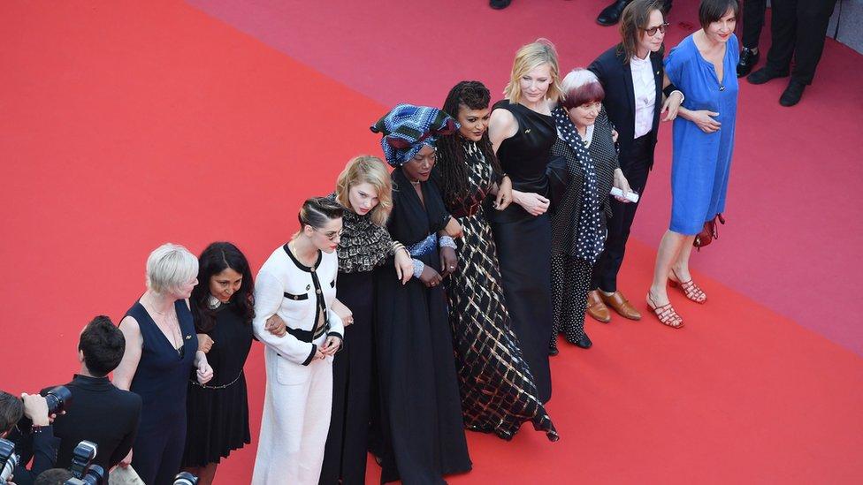 Haifaa al-Mansour, Kristen Stewart, Lea Seydoux, Khadja Nin, Ava DuVernay, Cate Blanchett and Agnes Varda (l-r)