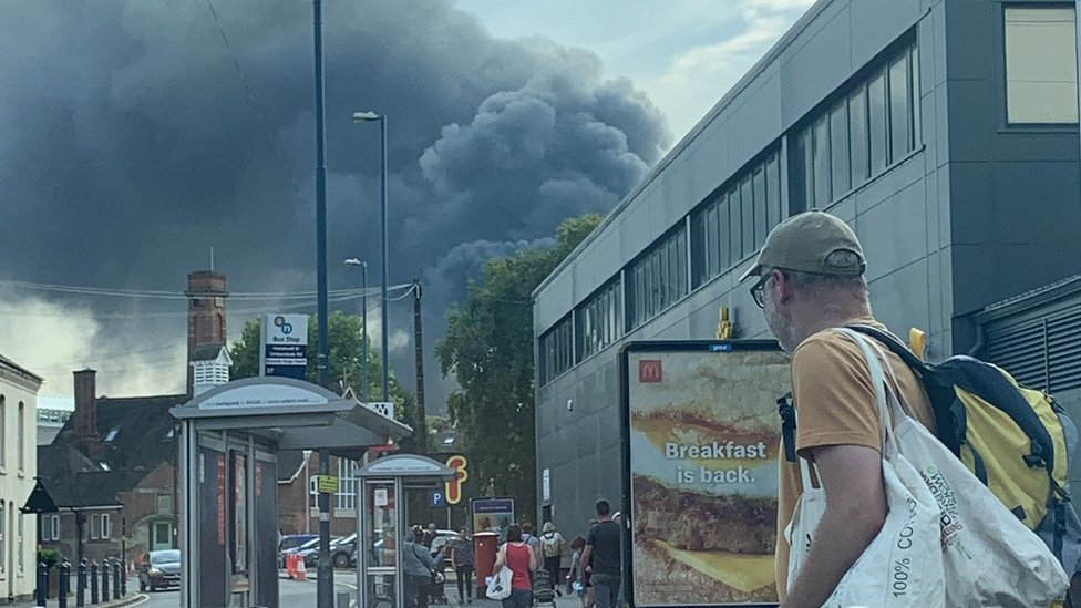 The fire seen from Stirchley