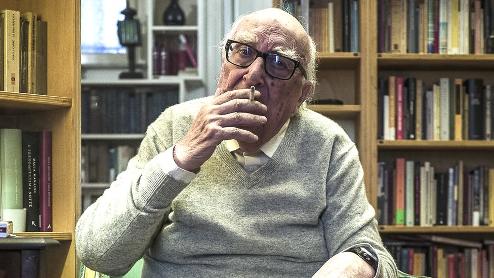 Italian writer Andrea Camilleri poses in his house in Rome, Italy, 13 October 2017