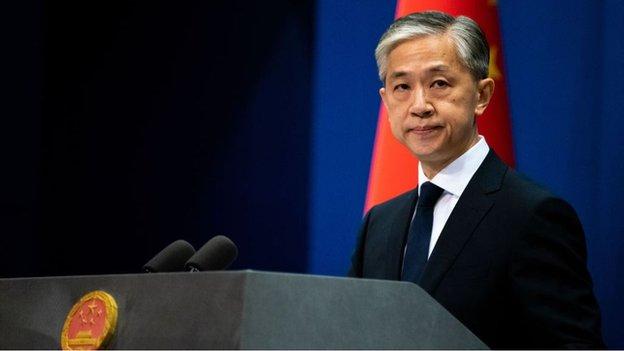 中國外交部發言人汪文斌說種子郵件的中國郵件面單屬於偽造(Credit: Getty Images)