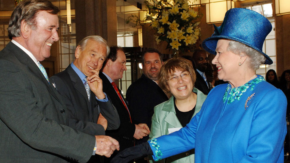 Queen Elizabeth II meeting Sir Terry Wogan, John Humphrys, James Naughtie, Chris Moyles and Jenny Abramsky