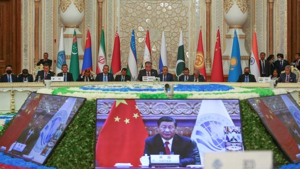 中國領導人習近平用視頻方式參加上海合作組織成員國元首理事會第21次會議。