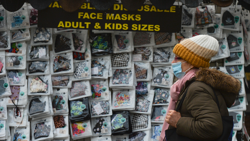 A stand with protective face masks for sale seen on O'Connell Street in Dublin's city centre