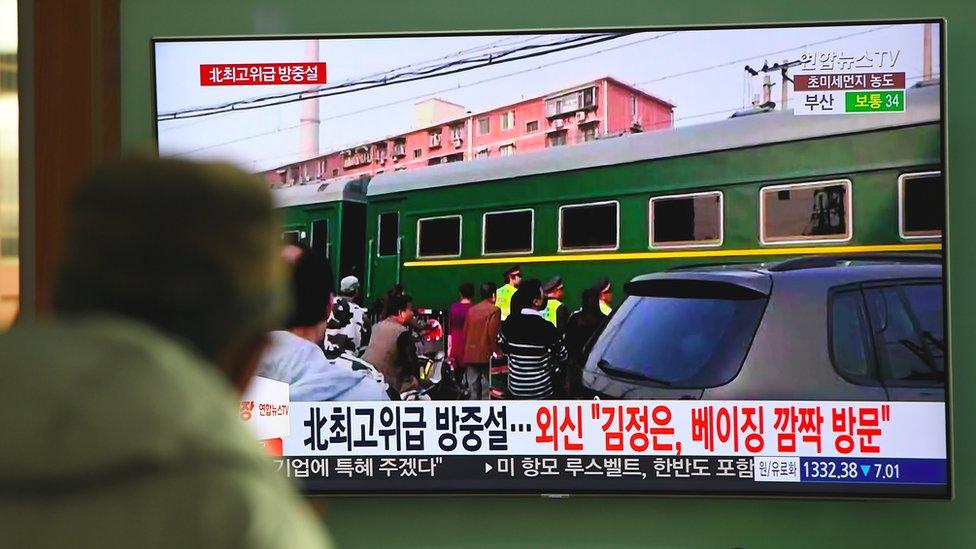 El tren de Kim Jong-un en su camino a Pekín, en marzo de 2018.