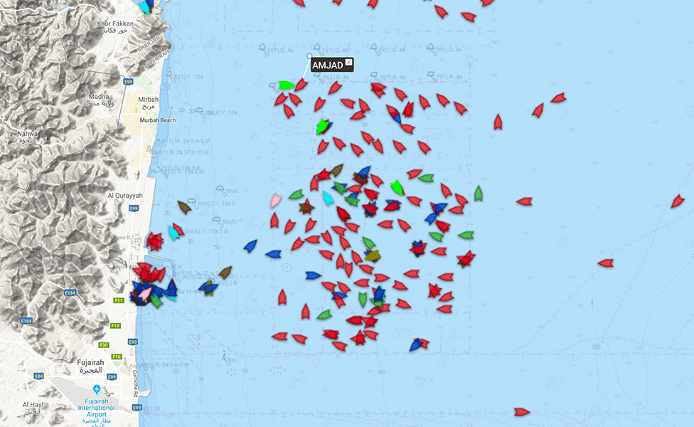 Ships anchored off Fujairah