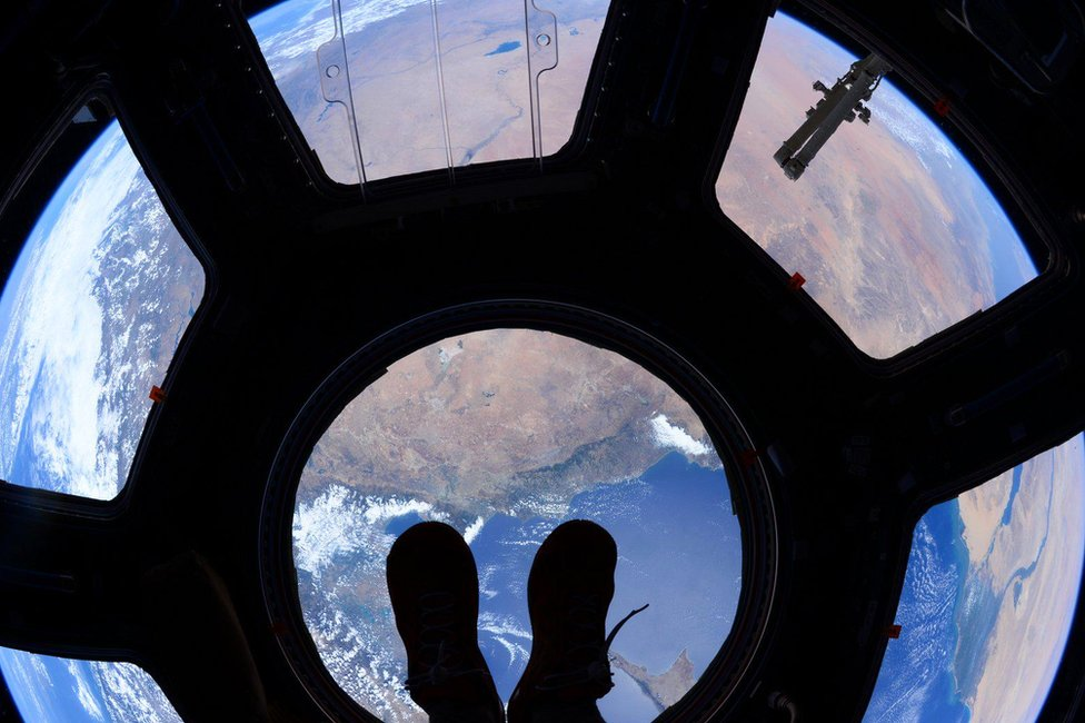 A view through the space station's cupola window