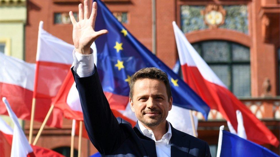 Poljski predsednički kandidat Rafal Tšaskovski u kampanji juna 2020