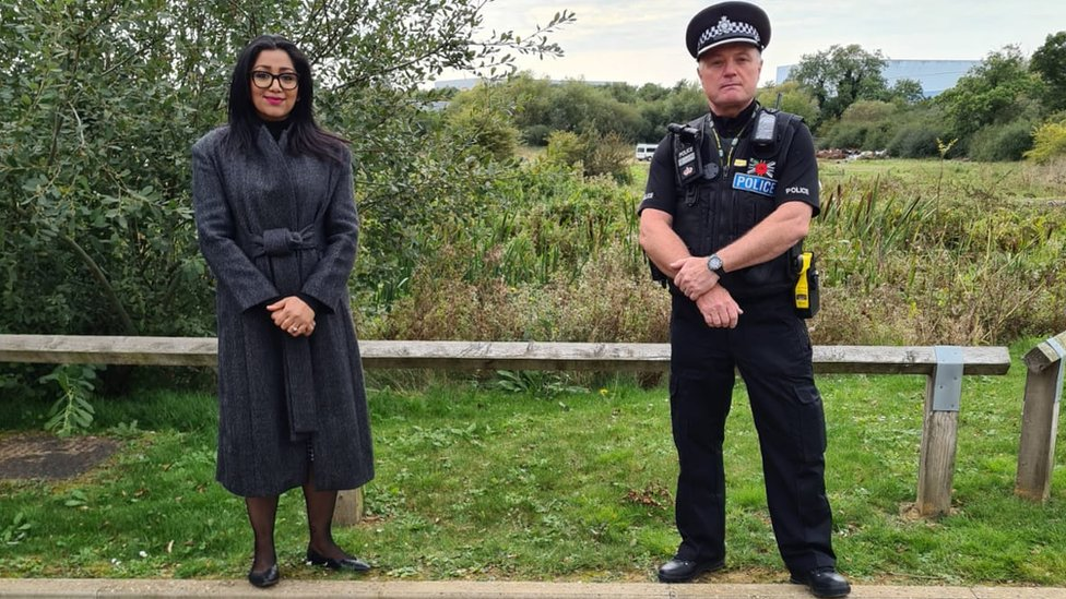 Pinder Chauhan with a police officer at Pineham Locks