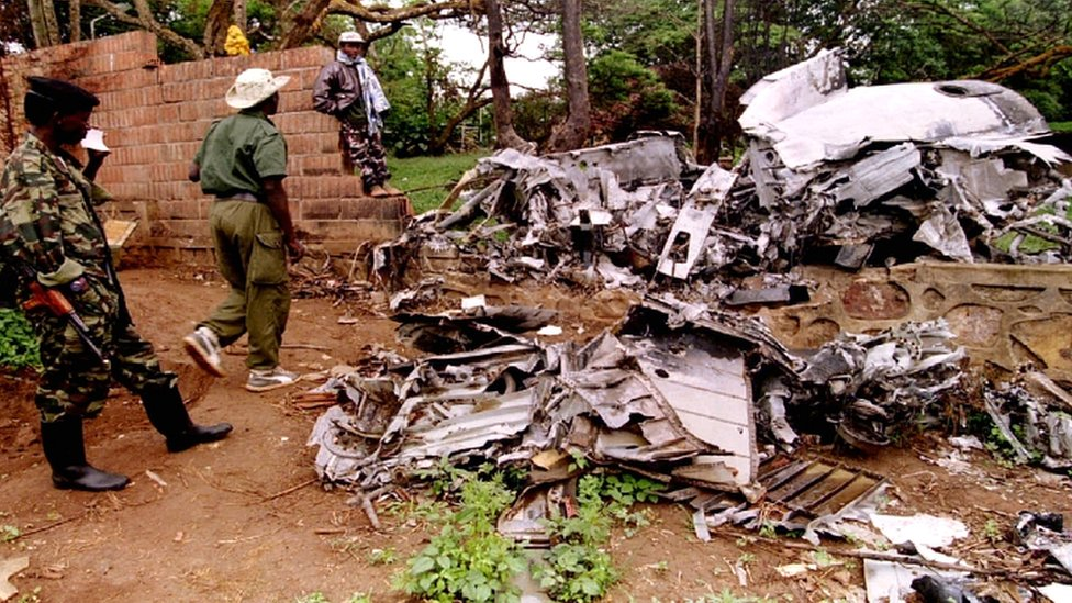 Rwanda Patriotic Front (RPF) rebels inspect the wreckage of the plane in which Rwandan President Juvenal Habyarimana was killed in April 1994