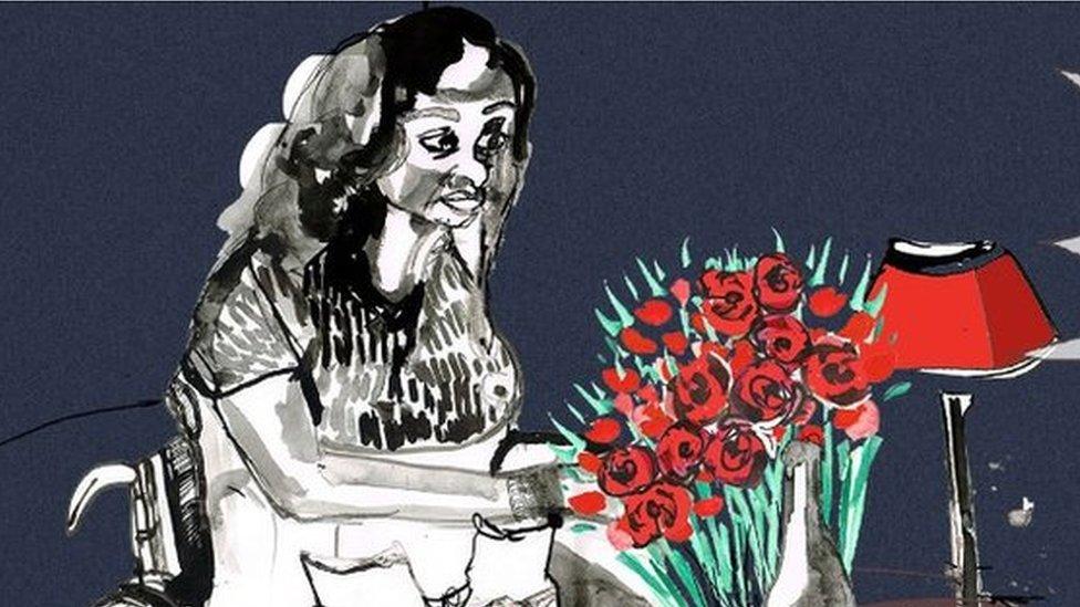 Ilustración de una chica en silla de ruedas ante un ramo de flores