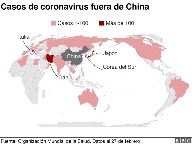 Mapa casos de coronavirus fuera de China