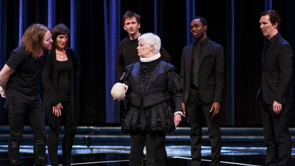 (L-R) Tim Minchin, Harriet Walter, David Tennant, Dame Judi Dench, Paapa Essiedu and Benedict Cumberbatch perform at the RSC's Shakespeare Live! in 2016