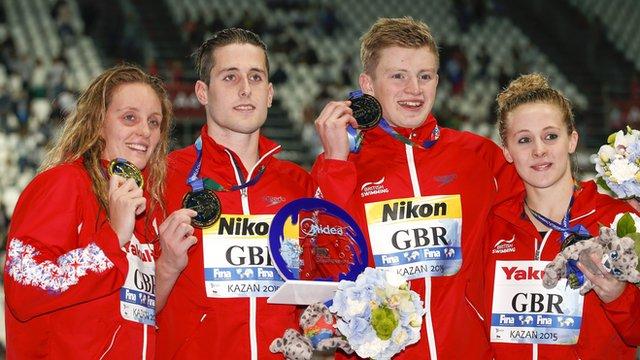 "Fran Halsall, Chris Walker-Hebborn, Adam Peaty, and Siobhan Marie O""Connor of Great Britain"