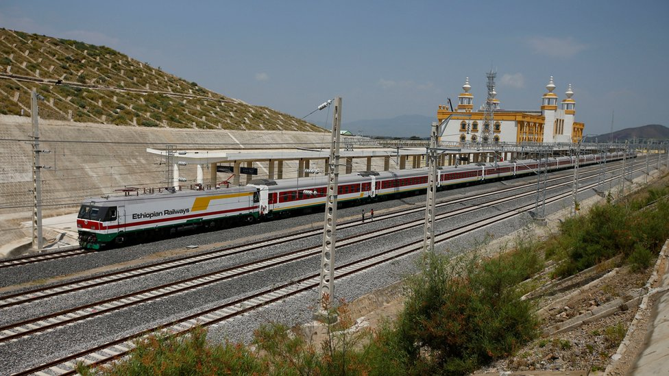 A train is seen at the Adama train station of Oromia region during a media guided tour of the Ethio-Djibouti Railways route in Adama, Ethiopia, September 24, 2016. REUTERS/Tiksa Negeri