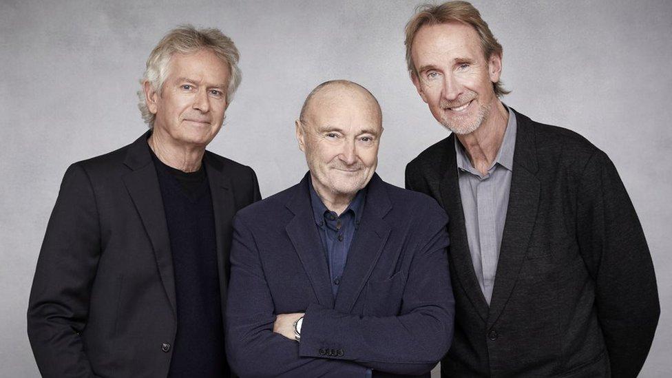 Genesis Müzik Grubu üyeleri Tony Banks, Phil Collins ve Mike Rutherford