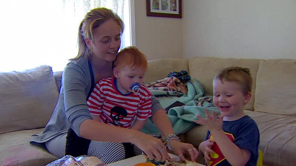 Jessica Russell and her two children