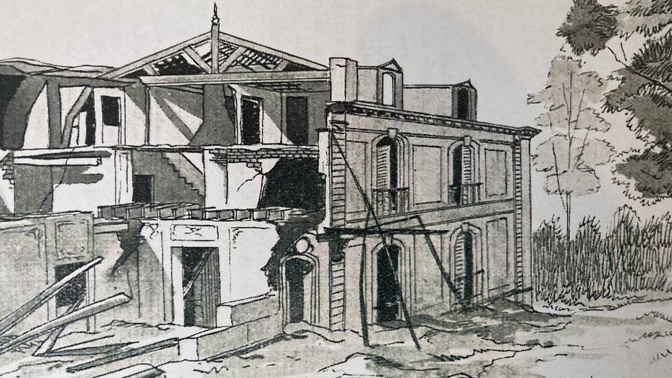 Drawing of destroyed hotel