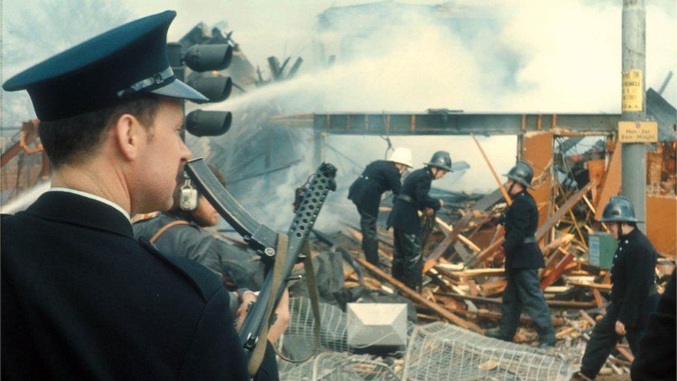 RUC officer with Sten gun