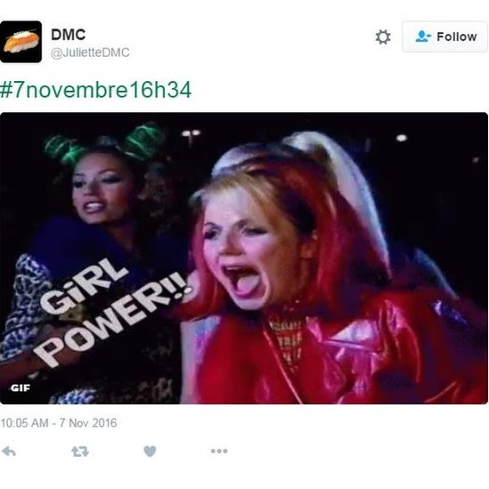 """A tweet sharing an image of Spice Gilrs Mel B and Geri Horner and the words """"girl power""""."""
