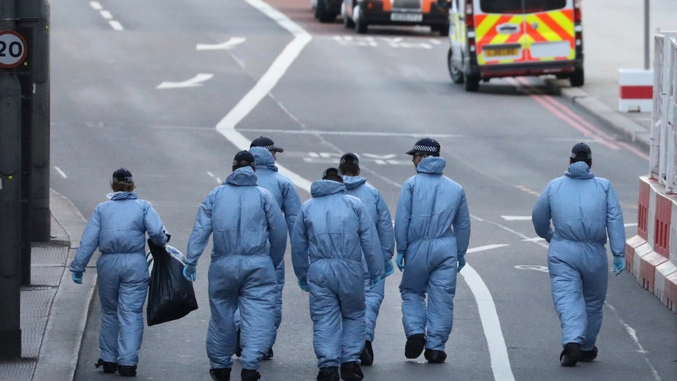 Forensic officers on London Bridge
