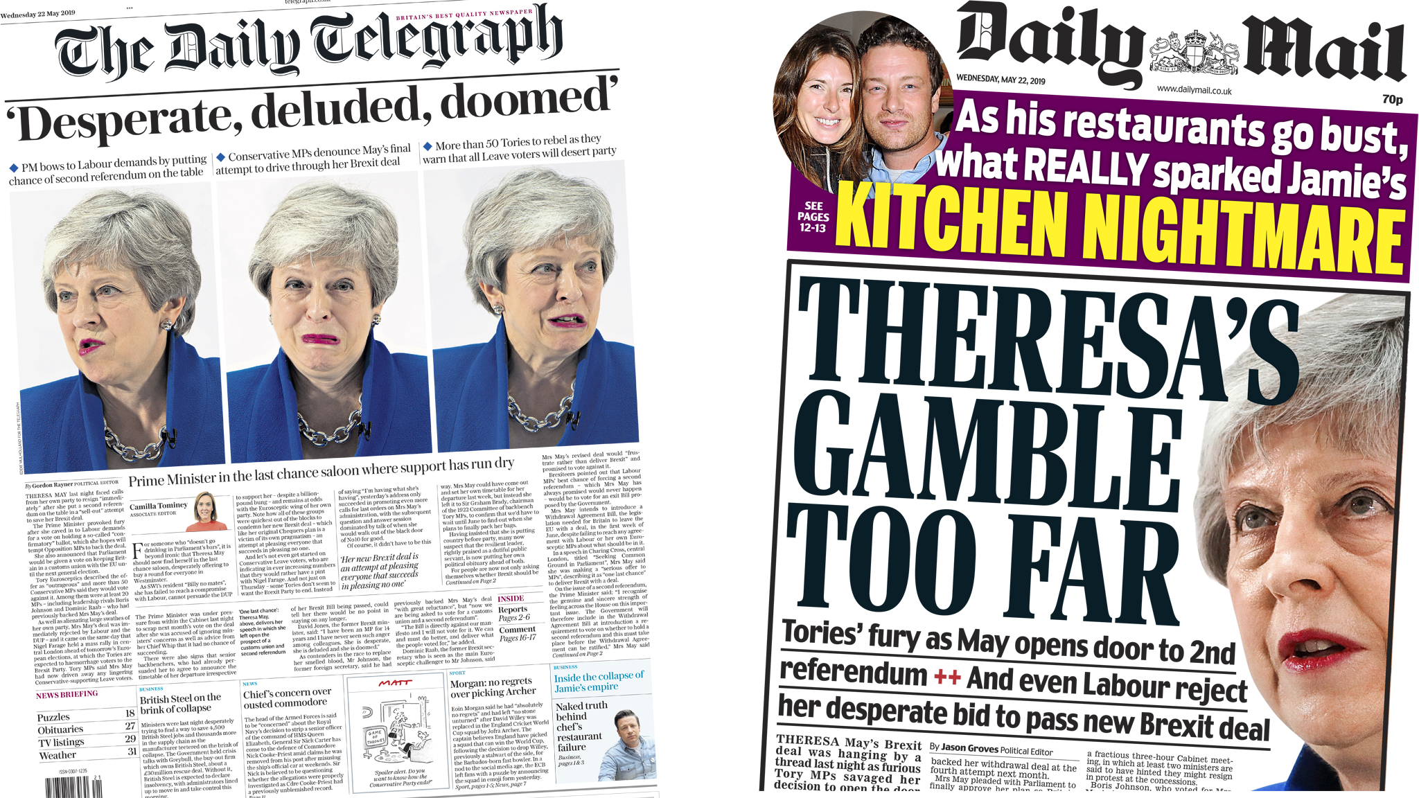 The Papers: May's final gamble and Jamie's 'kitchen nightmare'