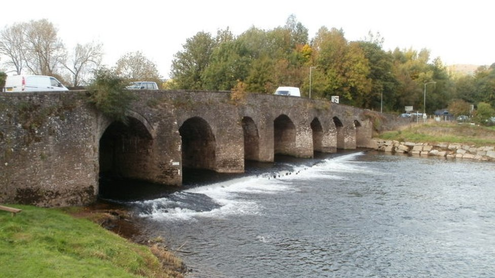Llanfoist Bridge over the River Usk in Abergavenny